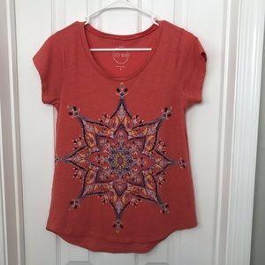 Lucky Brand Coral Print Mandala T Shirt